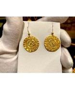 PURE GOLD SHIPWRECK TREASURE EARRINGS 1622 ATOCHA DOUBLOON COIN PIRATE J... - $1,295.00