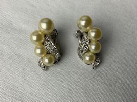 Vintage Faux Pearl Rhinestone Earrings Marvella Clip On  - $18.69