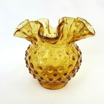 Fenton Art Glass Amber Hobnail Ruffled Rose Bowl Trinket Dish Marked Fen... - $17.82