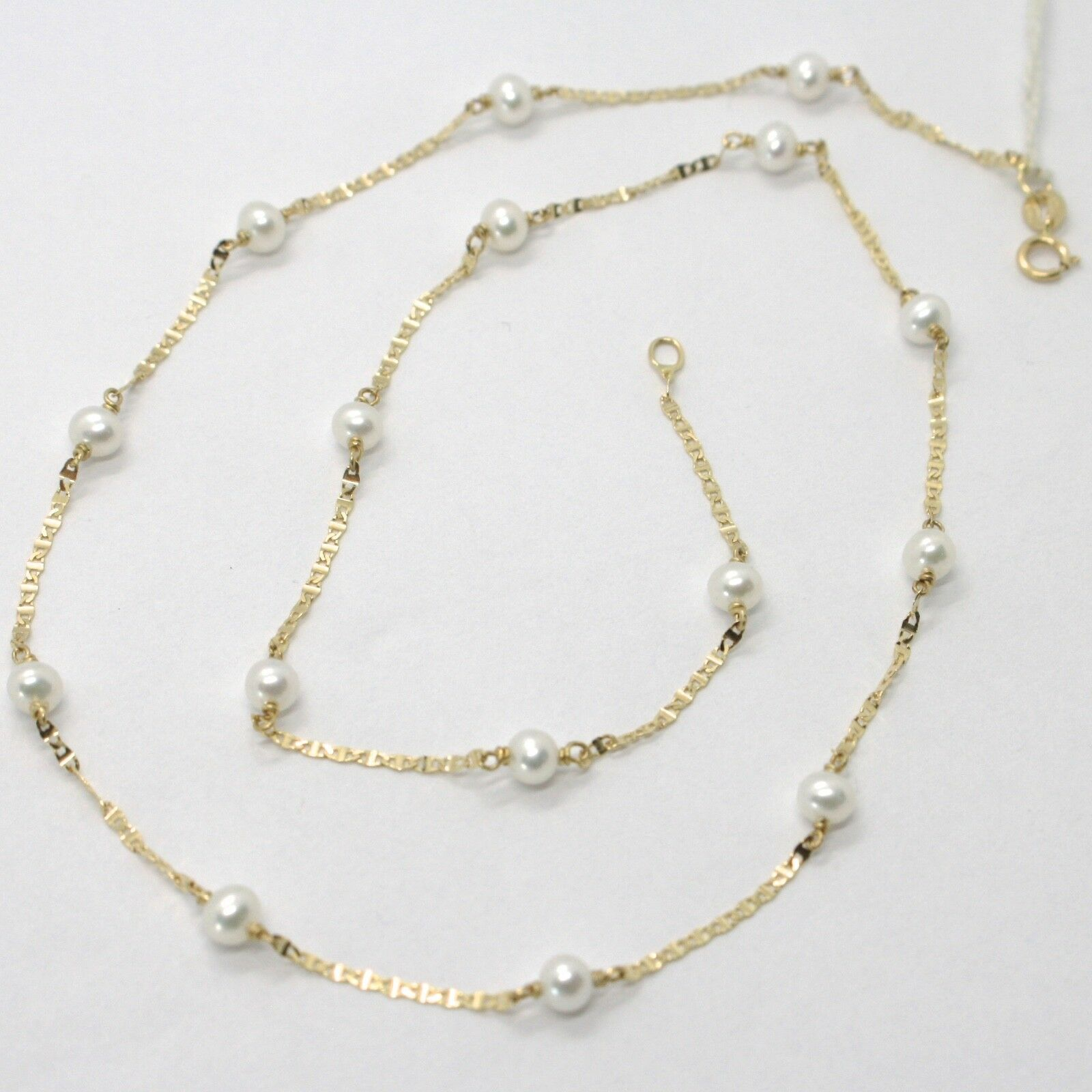 18K YELLOW GOLD NECKLACE, OVAL FLAT CHAIN ALTERNATE WITH WHITE MINI PEARLS 4 MM