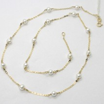 18K YELLOW GOLD NECKLACE, OVAL FLAT CHAIN ALTERNATE WITH WHITE MINI PEARLS 4 MM image 1