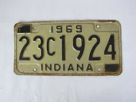 1969 Indiana License Plate Black 23 C 1924 - $23.22