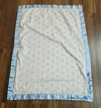 Just Born I Am Loved Puppy Baby Blanket Minky Dots Blue Satin Trim 30 x 40 - $79.19