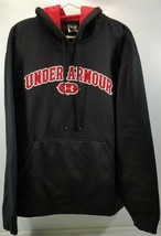 N) Under Armour Spell Out Logo Black Red Pullover Hoodie Sweatshirt XL - $19.79