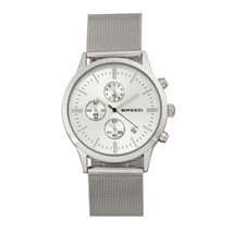 Breed Espinosa Chronograph Mesh-Bracelet Watch w/ Date - Silver - $420.00