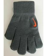 Nike Swoosh Knit Gloves Cool Grey/Hyper Crimson Youth Boy Girl S/M new w... - $15.68