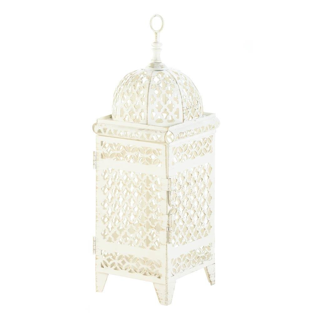 Candle Lantern, Quatrefoil Design Cutout Iron Inside Decorative Candle Lanterns