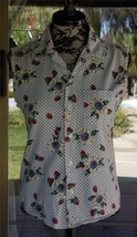 "Sleeveless Front Button Daisey & Strawberries Bongo Shirt Sz. S   38"" Bust - $9.89"