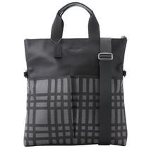 NWT Coach Unisex Wild Plaid Graphite Black Leather Fold Over Tote Handba... - $158.39