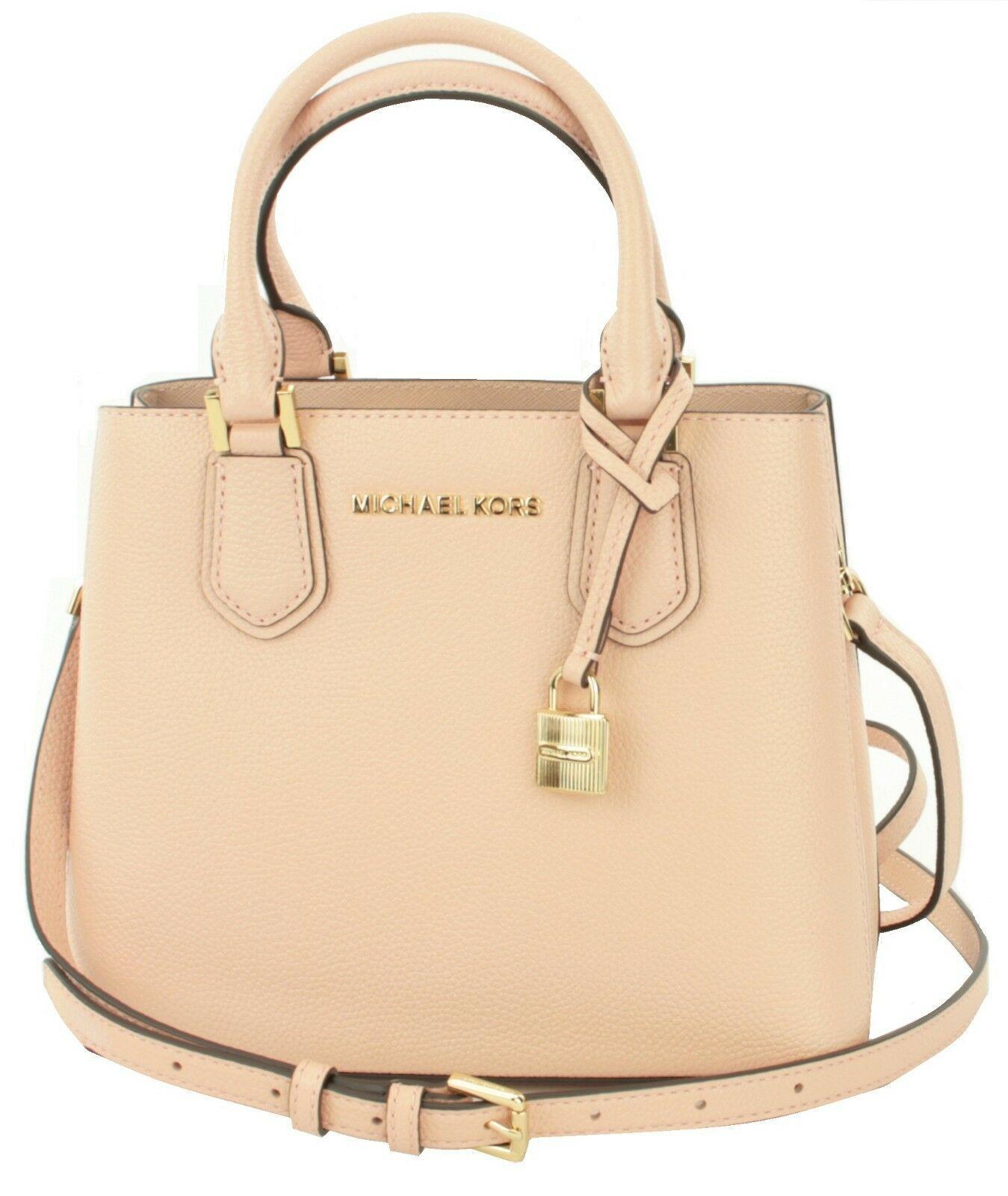 Michael Kors Adele Pastel Pink Leather Shoulder Messenger Bag Handbag