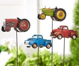 Set of 4 Farm Vehicle Design Planter Topper Garden Stakes Polystone & Metal - $118.79