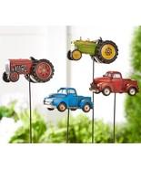 Set of 4 Farm Vehicle Design Planter Topper Garden Stakes Polystone & Metal - $118.79
