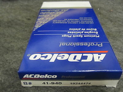 ACDELCO 41-940 Platinum Spark Plugs 19244474 Pack of 8 New