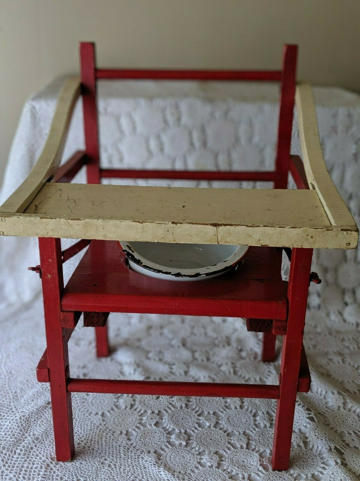 Wooden Red White Vintage Potty Chair With Chamber Pot Kids Baby