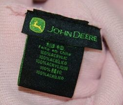John Deere LP47339 Acrylic Pink Green And White Cuffed Beanie image 6