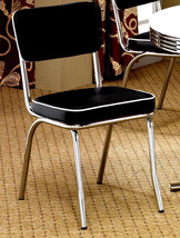 (4) RETRO CHROME PLATED DINING CHAIR WITH  BLACK/WHITE VINYL SEAT AND BACK - £202.40 GBP