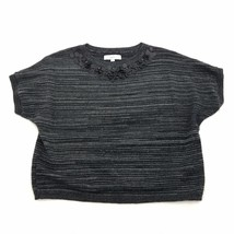 Ann Taylor LOFT Black/Gray Striped  S/S/ Wool Blend Sweater Womens Size L - $8.91