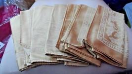 set of 7 shiny gold dinner napkins with leaf design - $16.50