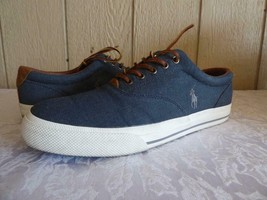 Polo Ralph Lauren Vaughn Lace Sneakers, Denim, Herringbone Chambray, US ... - $22.13