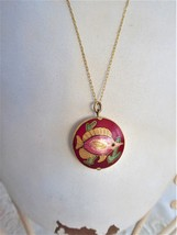 Red Fish Pendant Necklace Cloisonne Enamel With Gold Filled Chain 1970s ... - $36.00