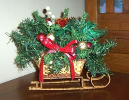 Christmas Sled centerpiece or table arrangement, wicker, berries, pine,#... - $23.74