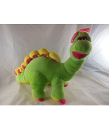 "Dinosaur Plush Green & Yellow Suncoast Toy 11"" Tall Soft Cute Pink Bow  - $11.87"