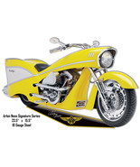 Yellow Arlen Ness Reproduction Motorcycle Cut Out Metal Sign 15.5x23.5 - $26.73