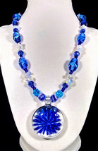 """19"""" Blue artglass, moonstone & crystal necklace with blue flower glass p... - $98.00"""