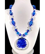 "19"" Blue artglass, moonstone & crystal necklace with blue flower glass p... - $98.00"