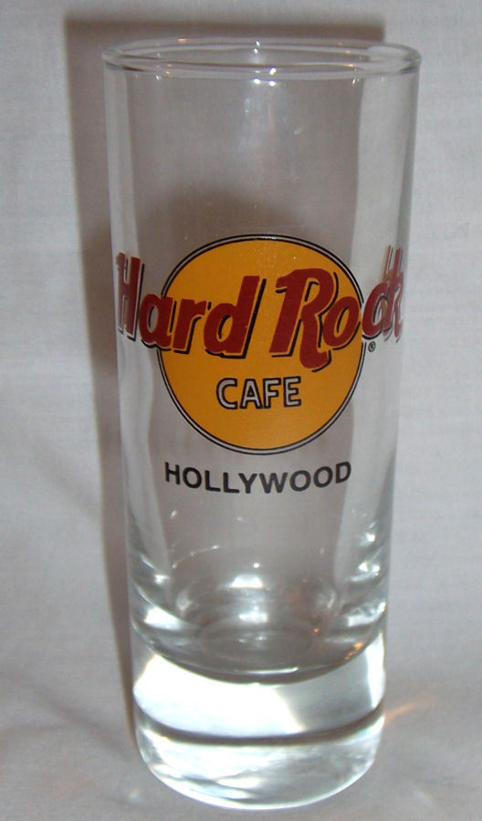 "Hard Rock Cafe Hollywood Shotglass 4"" Tall 2 oz Classic Style Black Letters"