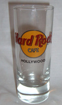 "Hard Rock Cafe Hollywood Shotglass 4"" Tall 2 oz Classic Style Black Letters - $10.99"