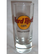 """Hard Rock Cafe Hollywood Shotglass 4"""" Tall 2 oz Classic Style Black Letters - $10.99"""