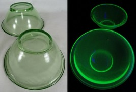 RARE VASELINE GLASS green depression HEMINGRAY MIXING BOWLS Uranium set x2 - $70.11
