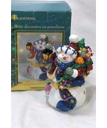 Traditions Porcelain Hand Painted Snowman Holding A Lantern Trinket Box - $9.44