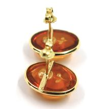 18K YELLOW GOLD EARRINGS, CABOCHON CENTRAL OVAL AMBER ENGRAVED ROSES FLOWERS image 3
