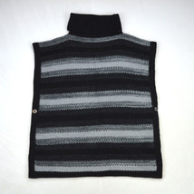 CALVIN KLEIN Soft Stripe Black Charcoal Knit Flying Squirrel Poncho Swea... - $28.70