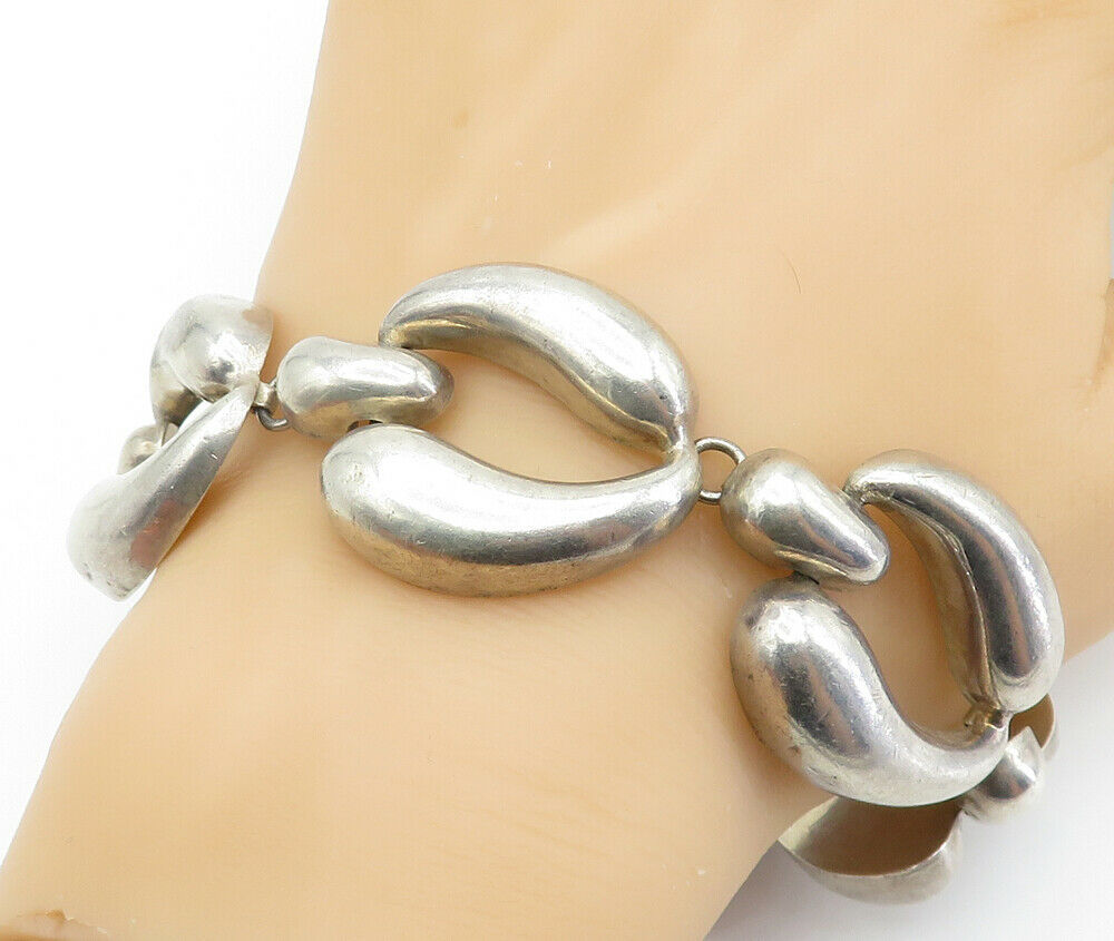 MEXICO 925 Sterling Silver - Vintage Large Hollow Link Chain Bracelet - B6115