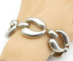 MEXICO 925 Sterling Silver - Vintage Large Hollow Link Chain Bracelet - ... - $150.07