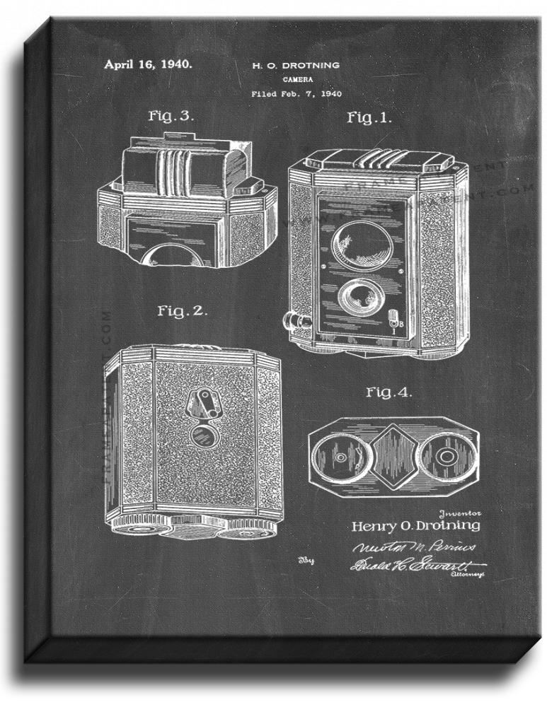 Primary image for Camera Patent Print Chalkboard on Canvas
