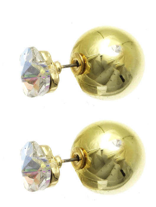 Heart Solitaire Double Sided Ball Stud Earrings AB Heart Goldtone Ball