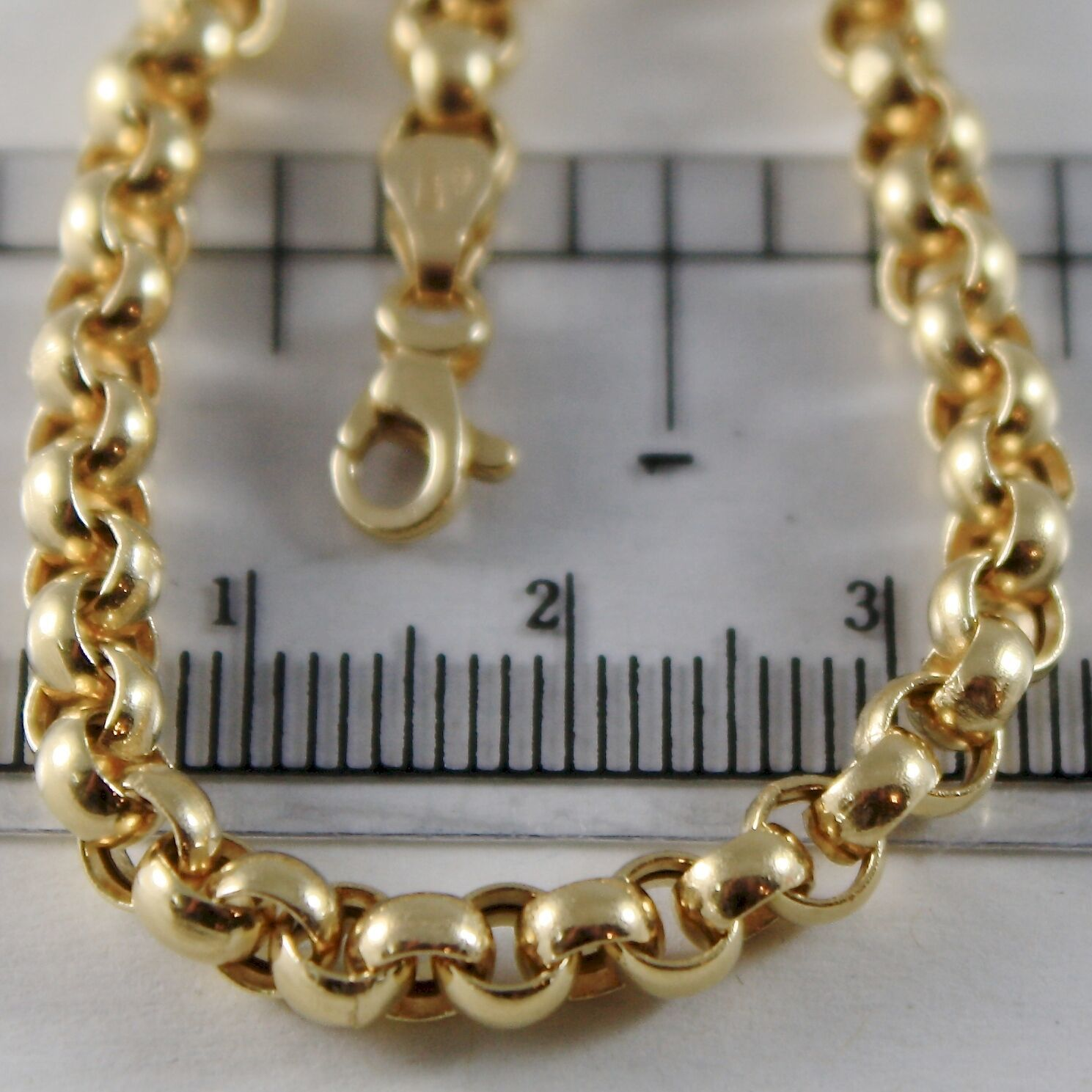 18K YELLOW GOLD CHAIN 19.70 IN, BIG ROUND CIRCLE ROLO LINK, 4 MM MADE IN ITALY