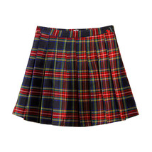 Holiday RED PLAID SKIRT Women Girl Pleated Plaid Skirt School Style Plaid Skirt image 10