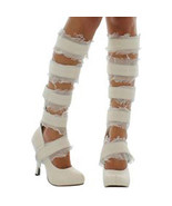 STORE CLOSE_OUT! MUMMY BOOTS Size 6 Egyptian Zombie Gauze Tape Heel Sexy... - $15.83