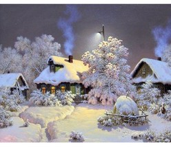 Paint By Numbers Kit Winter Cottages 40CMx50CM Canvas - $12.38