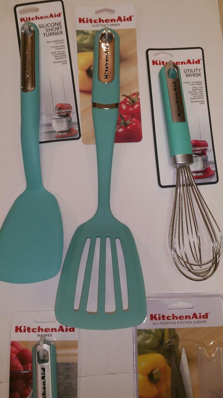 ... New Aqua Sky Blue KitchenAid Utensils Set 10 Pieces ...