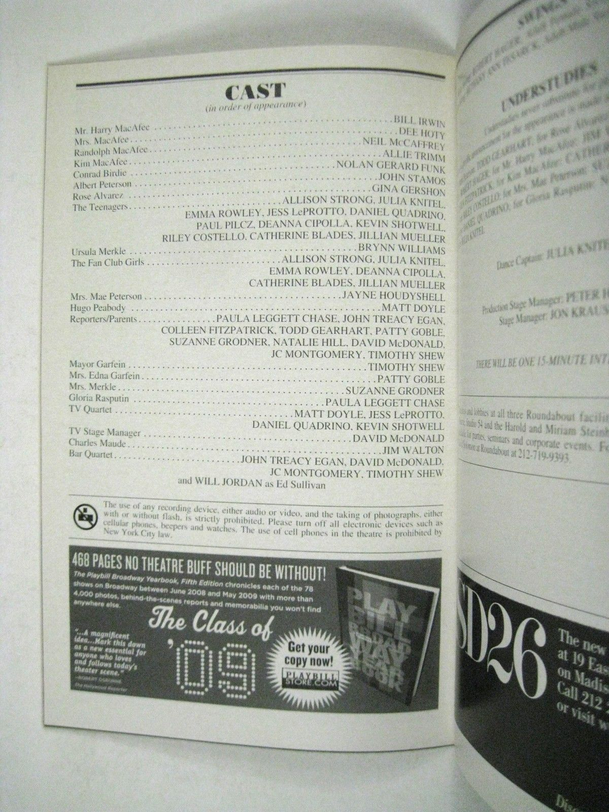 Bye Bye Birdie Playbill 2009 Henry Miller Theatre Stamos Robert Hager Gershon