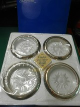 NIB-Set of 4 Crystal and Silverplate COASTERS..Made in Italy - $12.46