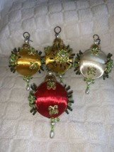 Lot Of 4 Vintage Mini Ornate Beaded Sequin Christmas Ornaments - $11.83