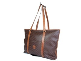 Auth CELINE Macadam PVC Canvas Leather Brown Tote, Shoulder Bag CT17394L - $159.00