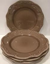 "Casa Cristina ""CAFE"" Set Of 4 Salad Plates  Embossed Brown (Scalloped) - $24.74"